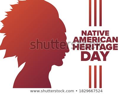 Indian patrimonio giorno vettore nativo silhouette Foto d'archivio © kovacevic