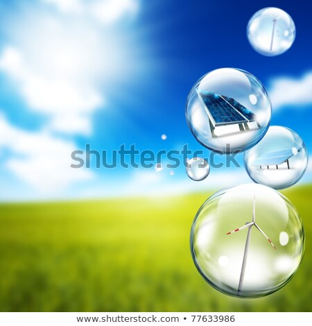 Bubble zonnepaneel windturbine binnenkant zeepbellen business Stockfoto © alphaspirit