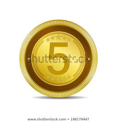 5 number circular vector gold web icon button stock photo © rizwanali3d