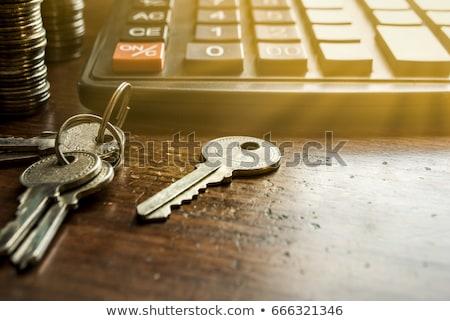 Hoop sleutels zwarte houten tafel Stockfoto © tashatuvango