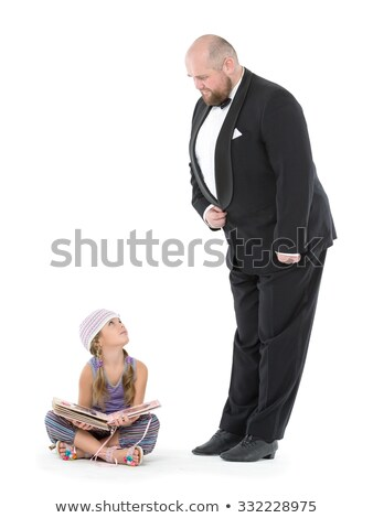 Little Girl and Servant in Tuxedo Looking at Each Other Stock photo © Discovod