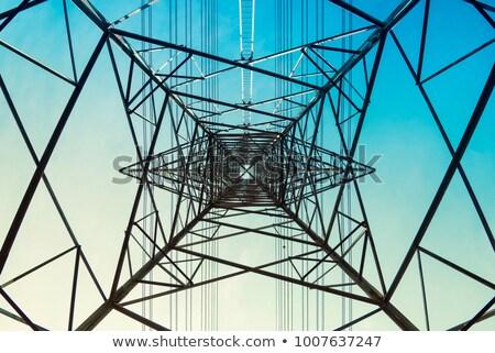 Hoogspanning elektriciteit blauwe hemel hemel metaal frame Stockfoto © chris2766