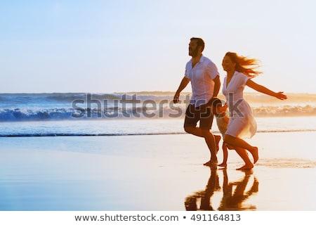 happy family silhouette on sunny sky stock photo © Paha_L