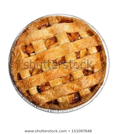 Egész almás pite izolált fehér pite citromsárga Stock fotó © shutswis