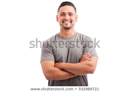 portret · brutaal · bebaarde · man · tshirt - stockfoto © zdenkam