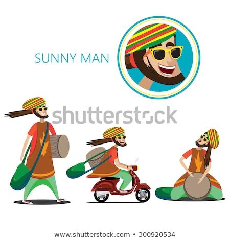 Homem caminhada cor trópicos tambor saco Foto stock © alexanderandariadna