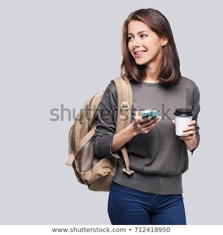 Foto stock: Estudante · menina · mochila · isolado · branco · mulher