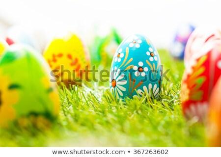 яйца · пасхальных · яиц · Пасху · желтый · лента · деревянный · стол - Сток-фото © zhekos