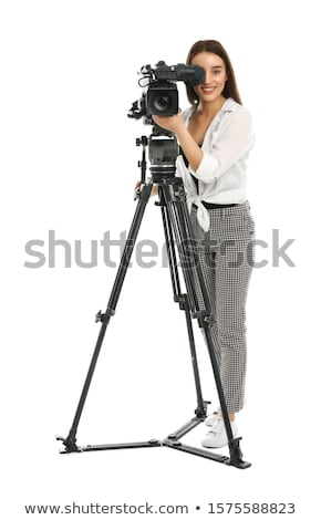 camerawoman with video camera stock photo © rastudio