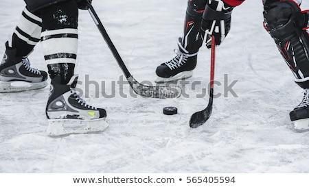 jégkorong · játékos · fiatal · kaukázusi · korcsolyázás · jég - stock fotó © bluering