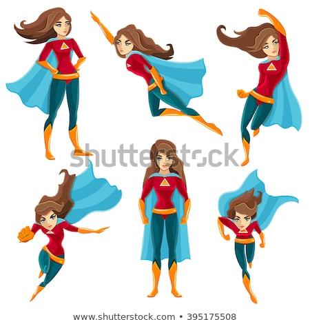 mulher · voador · super · vermelho · esportes - foto stock © LironPeer