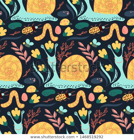 seamless background pattern of snails on grass stock photo © adrian_n