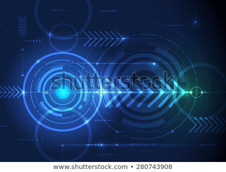 Dark green tech circuit board background with arrows Stock photo © saicle