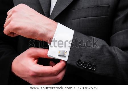 mandzsetta · linkek · izolált · fehér · divat · öltöny - stock fotó © goir