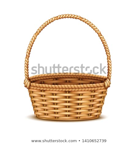Round wicker basket with a white background isolated. Stock photo © justinb