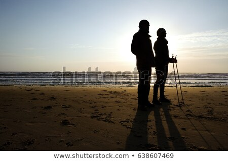people walking at the beach in Holland Stock photo © compuinfoto