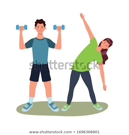 súlyemelő · erő · testépítés · sport · fitnessz · siker - stock fotó © rastudio