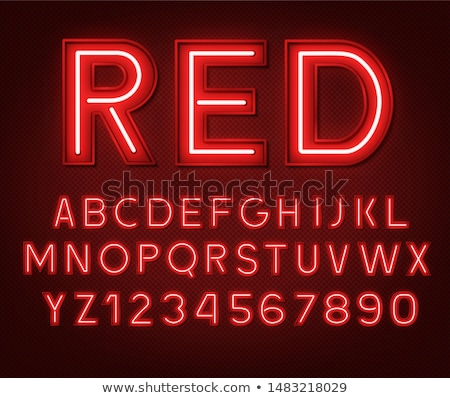 Neon kırmızı sayılar kullanılmış model Stok fotoğraf © Voysla