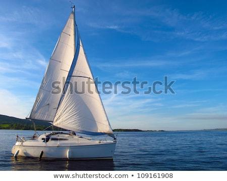 帆 ボート 湖 ヨット 日没 マケドニア ストックフォト © joyr