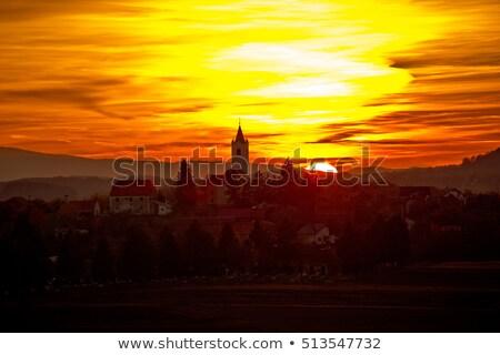 Village coucher du soleil région Croatie forêt soleil Photo stock © xbrchx