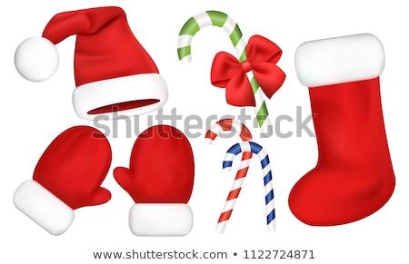 Piros ujjatlan kesztyűk mikulás izolált fehér vektor Stock fotó © orensila
