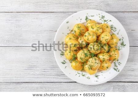 gekookt · aardappel · kom · tabel · glas · restaurant - stockfoto © yatsenko