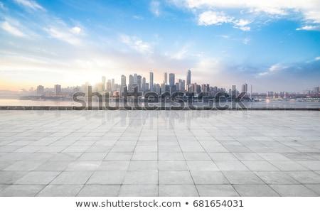 Iş şehir manzara yeşil su bulutlar Stok fotoğraf © WaD