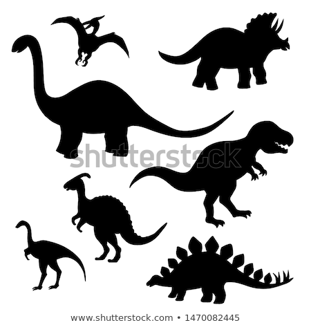 Dinosaurs with silhouette creatures in background Stock photo © bluering
