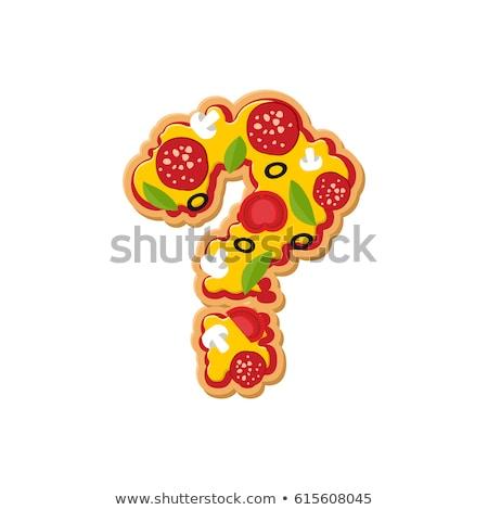 Question mark pizza font. Italian meal alphabet. Lettring fast f Stock photo © popaukropa