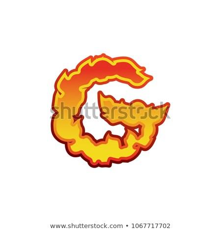 Mektup g yangın Alevler dövme alfabe Stok fotoğraf © popaukropa
