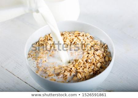 Zab pelyhek tej gyümölcsöstál kancsó gyümölcs Stock fotó © Digifoodstock