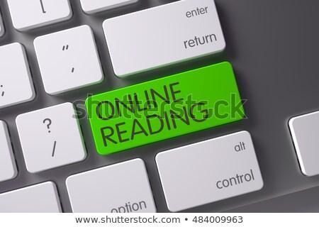 Yeşil çevrimiçi okuma klavye 3D Stok fotoğraf © tashatuvango