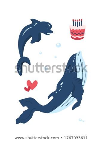 Saudação baleia dia cartão mundo ícone Foto stock © Olena