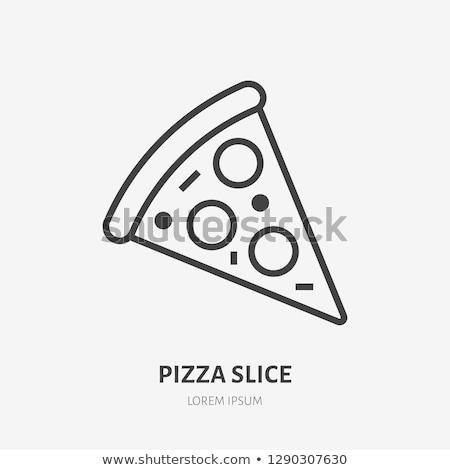 Pizza slice lijn icon vector geïsoleerd witte Stockfoto © RAStudio