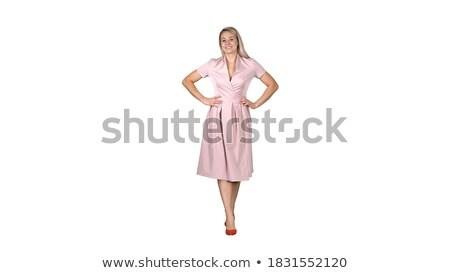 mode · winkelen · gelukkig · vrouw · zak · jurk - stockfoto © deandrobot