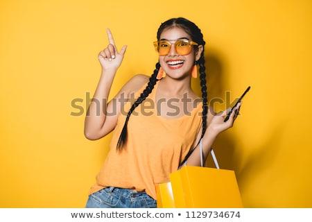 Gülen genç eğlence portre alışveriş Stok fotoğraf © IS2
