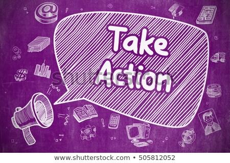 Take Action - Hand Drawn Illustration on Purple Chalkboard. Stock photo © tashatuvango