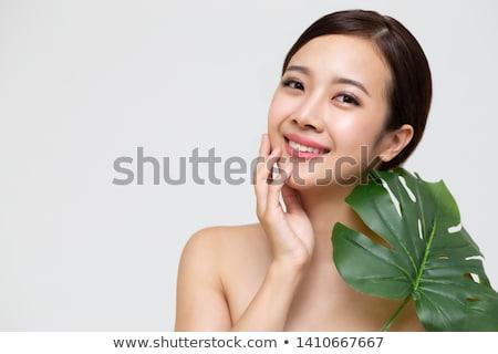 Kız güzel yeşil makyaj genç kadın Stok fotoğraf © svetography