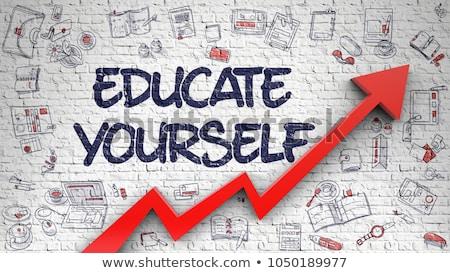 Oktat magad 3D kicsi tábla kézzel írott Stock fotó © tashatuvango