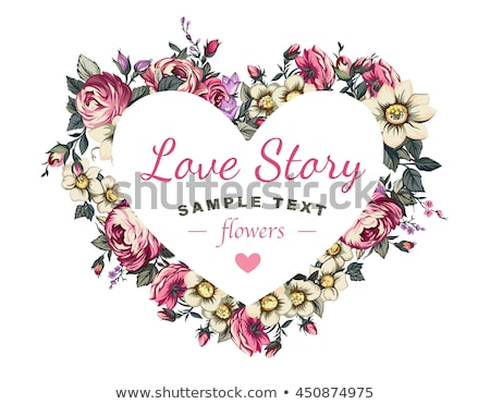 frame with rose flowers heart shape border vector stock photo © robuart