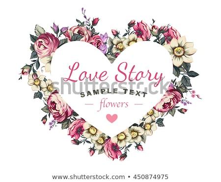 Stockfoto: Frame · steeg · bloemen · hartvorm · grens · vector