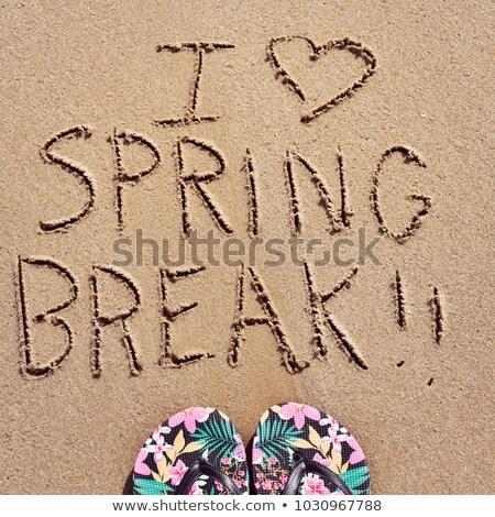 Szöveg szeretet tavaszi szünet homok magasról fotózva kilátás Stock fotó © nito