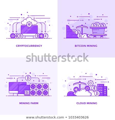 bitcoin cloud mining line icon stock photo © rastudio