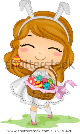 Girl carrying basket of Easter eggs Stock photo © IS2