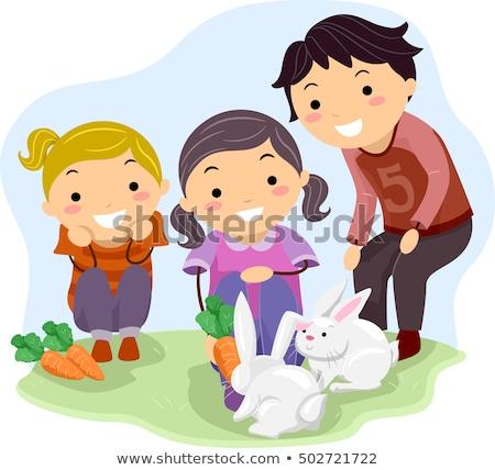 子供 ウサギ 実例 ファーム 楽しく ストックフォト © lenm