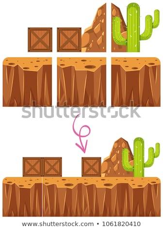 Foto stock: Juego · desierto · escena · plantilla · ilustración · hierba