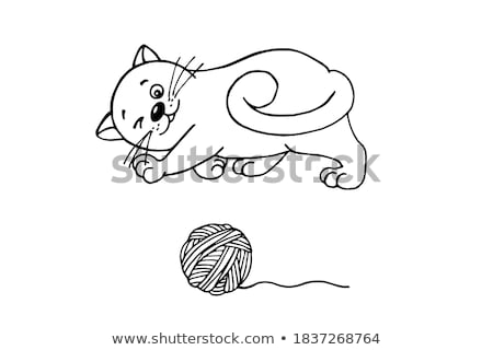 Funny White Cat Plays Woolen Thread Ball Vector Stock photo © robuart