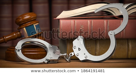 судья · молоток · наручники · деревянный · стол · книга · цепь - Сток-фото © iserg