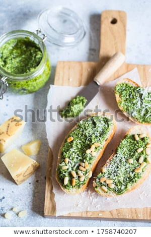 caseiro · pesto · molho · vidro · jarra · ingredientes - foto stock © melnyk