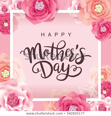 happy mothers day greeting card illustration with flower and mom typographic design on white backgro stock photo © articular